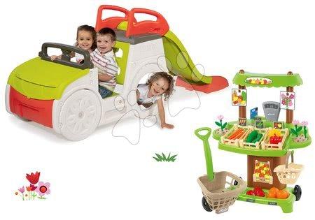 Igračke i igre za vrt - Set penjalica Adventure Car Smoby s toboganom i štand za povrće sa 40 dodataka, od 24 mjeseca