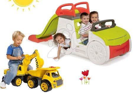 - Szett mászóka Adventure Car Smoby csúszdával hossza 150 cm, markológép és teherautó Maxi Power 24 hó-tól