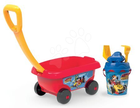 Voziček za vlečenje Mickey Smoby z vedro setom za pesek (višina vedra 18 cm) od 18 mes