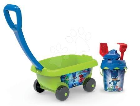 Vozík na ťahanie PJ Masks Smoby s vedro setom do piesku (výška vedierka 18 cm) od 18 mes