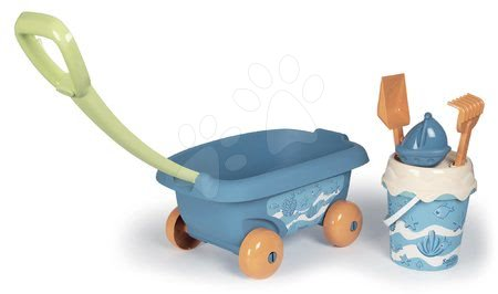 Fúriky do piesku - Vozík na ťahanie z cukrovej trstiny rastliny Bio Sugar Cane Beach Cart Smoby s vedrom z kolekcie Smoby Green 100% recyklovateľné od 18 mes