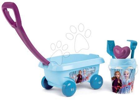 Detský vozík na ťahanie Frozen Smoby s vedro setom do piesku s trblietkami (vedro výška 18 cm) od 18 mes