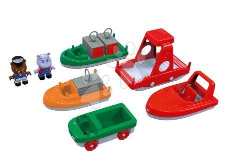 AquaPlay - Lodě s kontejnery a motorové čluny AquaPlay s hrošíkem a medvědem 7 kusů