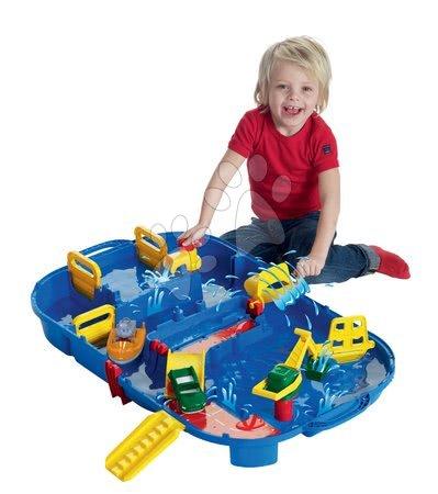 Vyskladaj si hračky podľa predstáv - Vodná dráha Aquaplay Lock Box v kufríku s hrošíkom Wilmou a priehradou s vodnou pumpou od 3 rokov