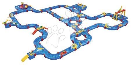 Vodna steza AquaPlay Gigaset ekstra velika z 11 ladjicami in 8 figuricami jezom žerjavom in ogromno razburljivimi kanali