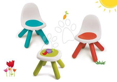 Hrací a piknikové stoly - Set židlí KidChair Smoby se stolkem (UV filtr) červená modrá a zelený stolek od 18 měsíců