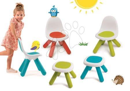 Kid - Set 3 židlí KidChair Smoby a 2 stolků (UV filtr) modrá červená zelená od 18 měsíců