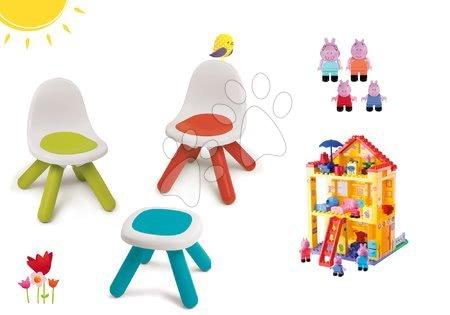 Kid - Set stůl Kidstool Smoby a 2 židle KidChair, stavebnice Peppa Pig v domečku od 24 měsíců