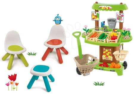 Kid - Set stůl Kidstool Smoby židle KidChair a zeleninový stánek se 40 doplňky od 24 měsíců