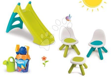 Hrací a piknikové stoly - Set stůl Kidstool Smoby židle KidChair, skluzavka Toboggan XS 90 cm, kbelík set od 24 měsíců