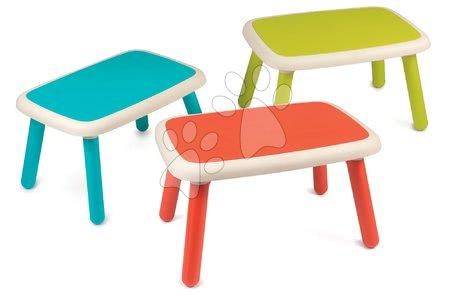 Hrací a piknikové stoly - Sada 3 stolů pro děti KidTable Smoby zelená/modrá/červená s UV filtrem od 18 měsíců