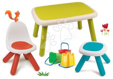 Kid - Set stůl pro děti KidTable zelený Smoby se židlí a stolečkem s UV filtrem s kbelíkem do písku