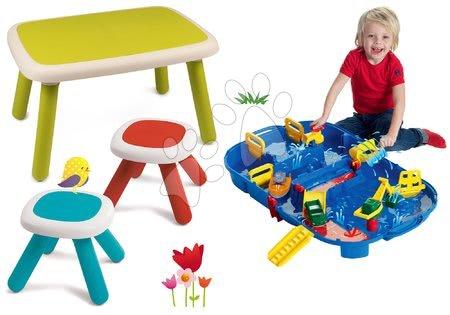 Komplet miza za otroke KidTable zelena Smoby s klopjo in dvema stolčkoma z UV filtrom