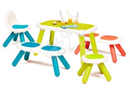 Hrací a piknikové stoly - Set stůl pro děti KidTable Smoby zelený se dvěma lavičkami modrou židličkou a zelenou taburetkou