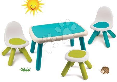 Hrací a piknikové stoly - Set stůl pro děti KidTable modrý Smoby se dvěma židlemi a stolečkem s UV filtrem