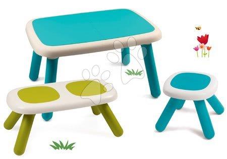 Hrací a piknikové stoly - Set stůl pro děti KidTable modrý Smoby s lavicí a stolečkem s UV filtrem