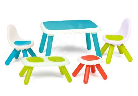 Hrací a piknikové stoly - Set stôl pre deti KidTable Smoby modrý s lavičkou taburetkou a dvoma stoličkami SM880402-6