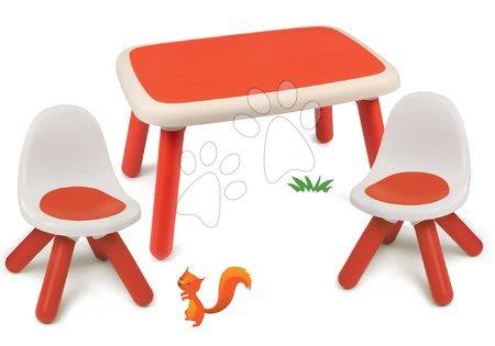 Hrací a piknikové stoly - Set stůl pro děti KidTable červený Smoby se dvěma židlemi s UV filtrem