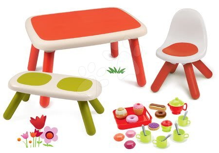 Kid - Set stůl pro děti KidTable červený Smoby s lavicí, židlí s UV filtrem a čajovou soupravou s koláči