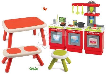 Set stůl pro děti KidTable červený Smoby s lavicí, stolečkem s UV filtrem a kuchyňkou