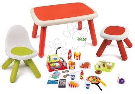 Kid - Set stůl pro děti KidTable červený Smoby se židlí a stolečkem s UV filtrem a potravinami Fast Food