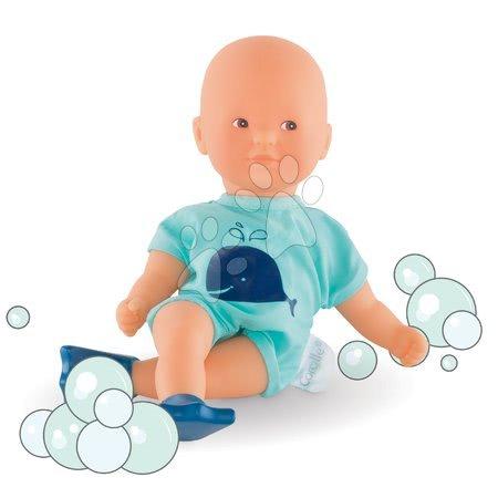 Panenky od 18 měsíců - Panenka Mini Bath Blue Corolle s hnědýma očima a ploutvemi 20 cm od 18 měs