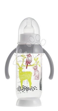 Dojčenská fľaša nerozbitná Beaba Zajačik s držiakom 240 ml šedá 240 ml od 0 mesiacov