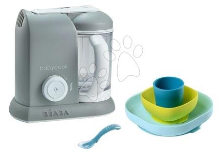 Beaba - Set parný varič a mixér Babycook® Solo Beaba + darček jedálenská súprava Silicone meal 4-dielna šedý od 0 mesiacov