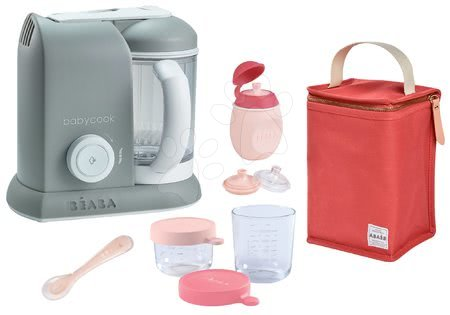 Beaba - Set parný varič a mixér Babycook® Solo Beaba + darček 2 dózy fľaštička s uzáverom lyžička a izotermický obal šedý od 0 mesiacov