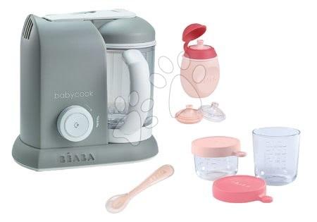 Beaba - Set parný varič a mixér Babycook® Solo Beaba + darček 2 dózy fľaštička s uzáverom a lyžička šedý od 0 mesiacov