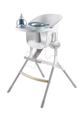 Hračky pre bábätká - Jedálenská stolička z dreva Up & Down High Chair Beaba polohovatelná do 6 výšok šedo-biela od 6-36 mesiacov_1