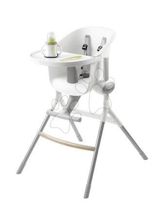 Hračky pre bábätká - Jedálenská stolička z dreva Up & Down High Chair Beaba polohovatelná do 6 výšok šedo-biela od 6-36 mesiacov