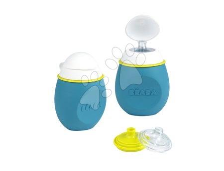Flaštička s uzáverom BabySqueez' 2v1 pre kašičky Beaba silikónová 180 ml od 6 mesiacov modrá