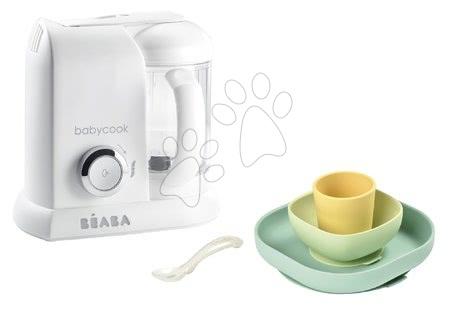Beaba - Set parný varič a mixér Babycook® Solo white silver Beaba + darček jedálenská súprava Silicone meal 4-dielna od 0 mes