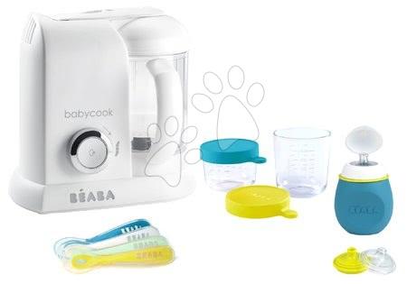 Beaba - Set parný varič a mixér Babycook® Solo white silver Beaba + darček 2 dózy na jedlo z kvalitného skla fľaštička s uzáverom a sada 4 tréningových lyžičiek od 0 mesiacov
