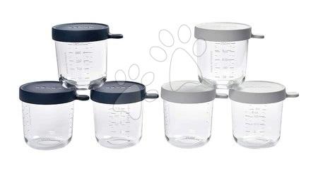 Hrănire și alăptare - Set recipiente pentru mâncare 250 ml Beaba 6 bucăți albastru și gri din sticlă de calitate de la 4 luni