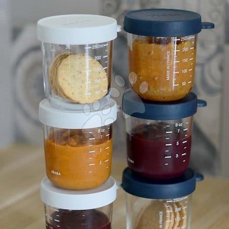 Hrănire și alăptare - Set recipiente pentru mâncare 250 ml Beaba 6 bucăți albastru și gri din sticlă de calitate de la 4 luni_1