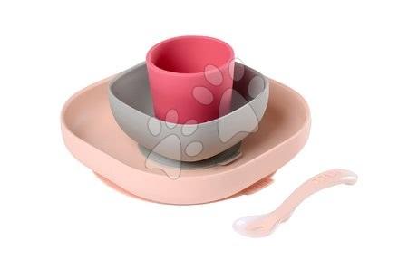 Jedilni set Beaba Meal set 4-delni iz silikona za dojenčke od 4 meseca rožnati