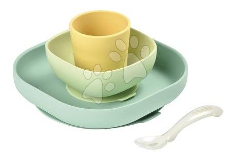 Set de masă Silicone meal Beaba set din silicon 4 piese pentru bebeluşi galben