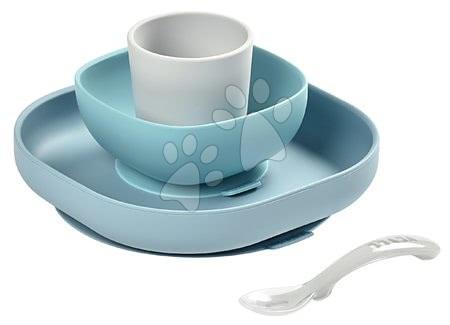 Jídelní souprava Silicone Meal Set Beaba ze silikonu 4-dílná modrá pro miminka od 4 měs