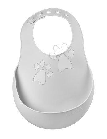 Slinček za otroke Silicone Bib Light Mist Beaba iz mehkega silikona in gumbi siv od 0 mes