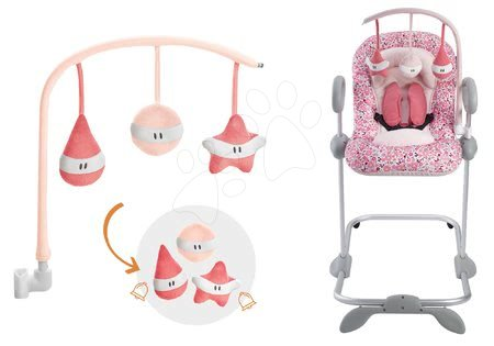 Komplet otroški nastavljiv ležalnik Up&Down III Pink Beaba od 0 meseca in vrtiljak za ležalnik Beaba Play rožnati