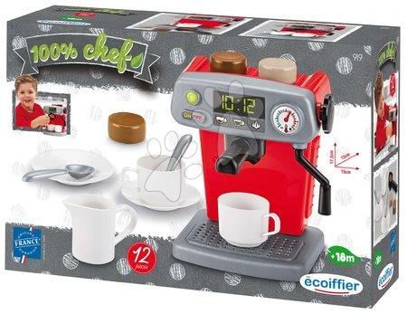Spotřebiče do kuchyňky - Kávovar 100% Chef Écoiffier se šálky a čokoládou 12 doplňků od 18 měsíců_1