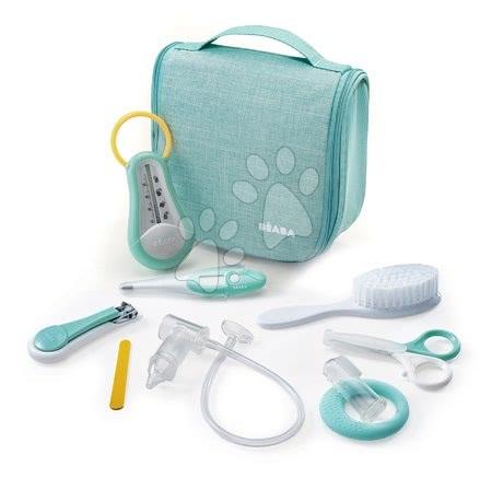 Toaletne potrebščine za dojenčka Beaba Trousse de Toilette v torbici za obešanje z 9 dodatki zelena od 0 meseca