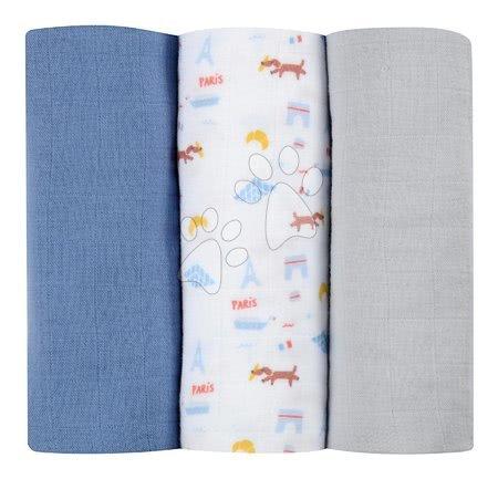 Textilní pleny z bavlněného mušelínu Cotton Muslin Cloths Beaba Paris sada 3 kusů 70*70 cm od 0 měs modré