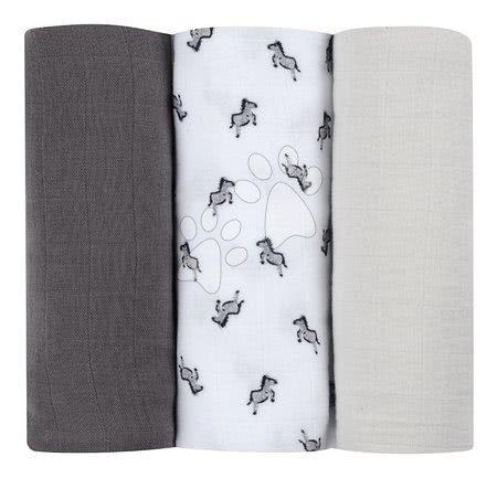 Textilní pleny z bavlněného mušelínu Cotton Muslin Cloths Beaba Savane sada 3 kusů 70*70 cm od 0 měs šedé