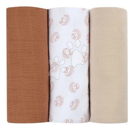 Textilní pleny z bavlněného mušelínu Cotton Muslin Cloths Beaba Herisson sada 3 kusů 70*70 cm od 0 měs hnědé