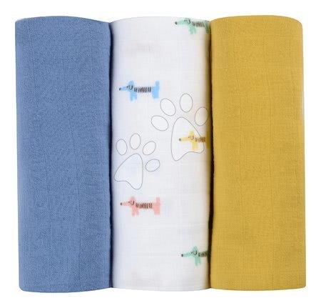 Textilní pleny z bavlněného mušelínu Cotton Muslin Cloths Beaba Teckal sada 3 kusů 70*70 cm od 0 měs modro-béžové