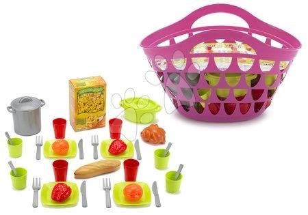 Košík pre deti s riadom 100% Chef Écoiffier s 33 doplnkami od 18 mesiacov ružový