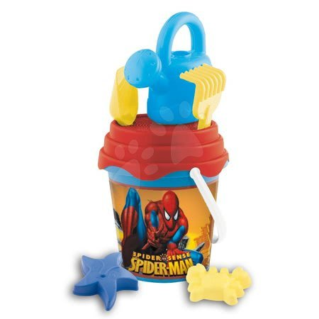 Spiderman - Set de găleată cu stropitoare Spiderman Mondo cu 7 accesorii (înălţime 19 cm) de la 18 luni